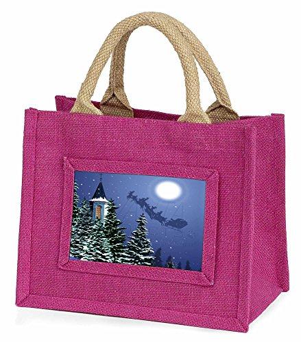 Advanta–Mini Pink Jute Tasche Eve Night Santa auf Schlitten Little Mädchen klein Einkaufstasche Weihnachten Geschenk, Jute, pink, 25,5x 21x - Kinder Für Schlitten Kleine