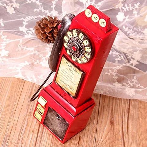 Rétro Téléphones Modélisation Piggy Bank Creative Resin Crafts Ornements décoratifs pour le salon Chambre Cafe , e31-yy611 red