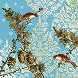 Ambiente Papierservietten - Servietten Lunch / Party / ca. 33x33cmPinecone Ornaments Blue - Weihnachten - Tannenzapfen Ornamente Blau - Ideal Als Geschenk Und Tisch-Deko