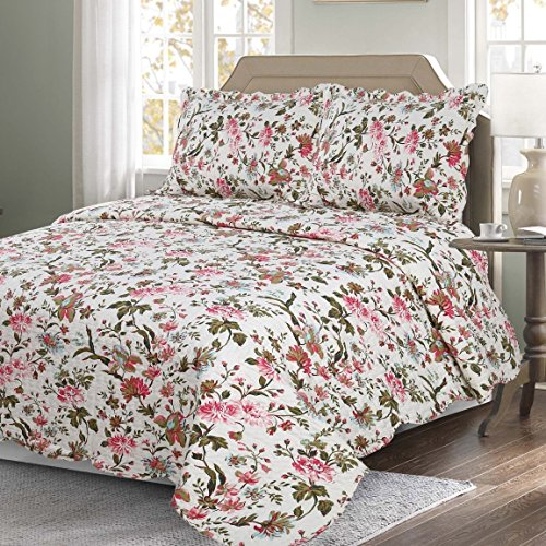 All Season 3 PCS Revisible Printed Floral Quilt Set Embroidered Bedspread Coverlets Bed Throw with 2 Shams Lightweight Hypoallergenic Vintage Style (King Pattern #4)