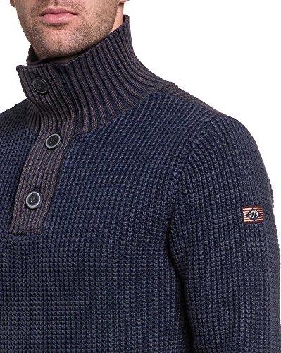 Petrol Industries - Man Pullover navy gerippt Kragenknöpfe Blau