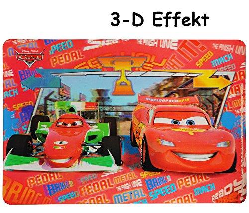 3-D Effekt Unterlage -  Disney Cars Lightning McQueen  - 43 cm * 30 cm - Tischunterlage / Platzdeckchen / Malunterlage / Knetunterlage / Eßunterlage - Auto .. (3d Mcqueen Lightning)