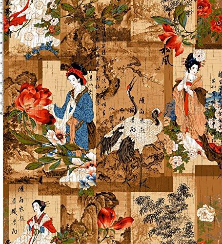 Fat Quarter Crane Dynasty Geisha Collage braun, Bay, Kona-Baumwolle -