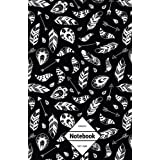 """GM&Co: Notebook Journal Dot-Grid, Lined, Graph, 120 pages 5.5""""x8.5"""": Black Feather Boho Native Tribe"""