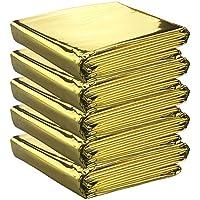 5 mantas de supervivencia de alta calidad empaquetadas individualmente en color dorado – Reflectantes para mantener el calor corporal