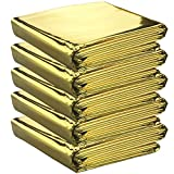 5 x High Quality Individually Packaged Gold Colour Emergency Foil Survival Blankets - Reflective to Maintain Body Heat