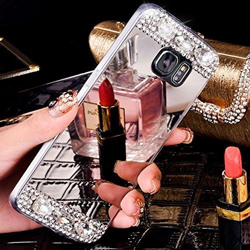 EUWLY Specchio Custodia Per iPhone X, Specchio Soft TPU Silicone Case per iPhone X Cristallo Brillantini Trasparente Clear Custodia Backcover Bling Glitter Shinning Strass Diamante Custodia Ultra Sott specchio,Argento
