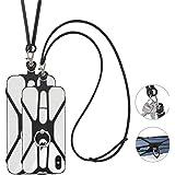 SHANSHUI 2 Stück Handy Lanyard, Silikon Umhängeband Halsband Trageband mit Finger Ring Ständer Fingerhalter für Universale Sm