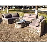 De exterior de mimbre redonda juego de sofá en esquina y mesa gris