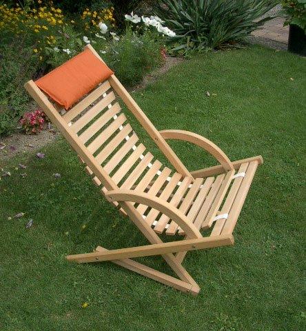 Chaise longue à bascule avec holzlamellen en bois de hêtre massif huilé