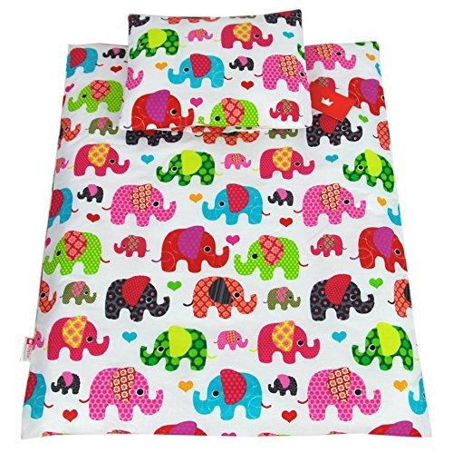 BABYLUX 2 tlg. Set Bezug für Kinderwagen Stubenwagen oder Wiege Garnitur Bettwäsche Kissen Decke 60 x 78 cm (76. Elefanten Rosa) (Elefant-decke Rosa)