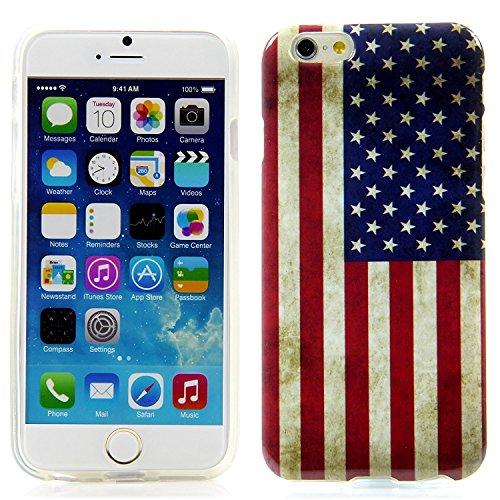 "Handy Lux® Schutz Hülle Etui Silikon TPU Cover Case Design Motiv für Apple iPhone 6 (4,7"") - Keep Calm and Carry on UK USA Flagge"