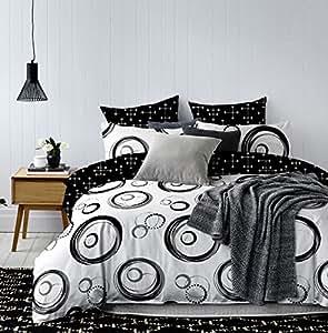 135x200 bettw sche mit 1 kissenbezug 80x80 geometrisches muster bettbez ge microfaser. Black Bedroom Furniture Sets. Home Design Ideas