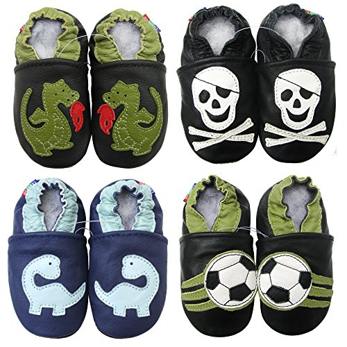 Carozoo Weiche Sohle Leder Babyschuhe Kinder Schuhe Krippe Hausschuhe Fire Dragon Black 12-18m (Leder Baby Krippe Sohle Schuhe)