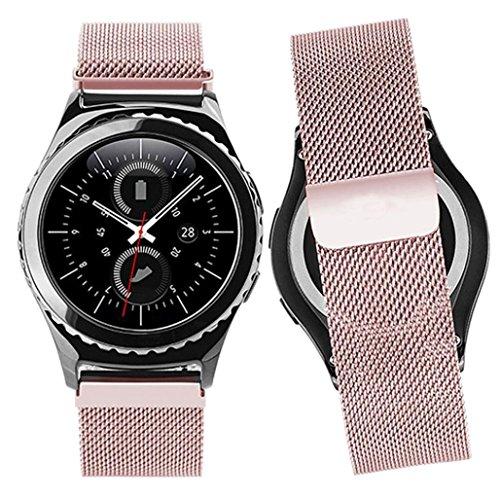 Malloom Banda de acero inoxidable acero venda reloj correa de bucle magnético de milanés para Samsung Gear S2 Classic SM-R732 (Oro rosa)