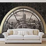 New York City Skyline Fenster - Wallsticker Warehouse - Fototapete - Tapete - Fotomural - Mural Wandbild - (2396WM) - XXXL - 416cm x 254cm - VLIES (EasyInstall) - 4 Pieces