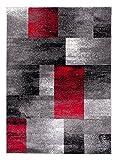 Tapiso JAWA Teppich Kurzflor Meliert Teppiche Grau Schwarz Rot Bunt Mehrfarbig mit Abstrakt Karo Diamant Viereck Muster Perfekt Wohnzimmer Gästezimmer ÖKOTEX 140 x 190 cm