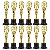 Pack de 12Mini premio trofeos–TROFEO de plástico–trofeos para niños–Ideal para profesores, oro, negro