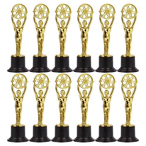Juvale 12Stück Mini Award Trophäen-Kunststoff-Trophy-Pokale für Kinder-ideal für Lehrer, Gold, Schwarz