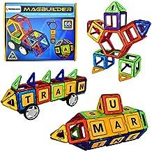SIMBANS MAGBUILDER 66 pezzi magnetica Blocco Deluxe Set con alfabeti Colorful magnetica costruzione Stacking giocattoli per i bambini, costruire e far finta di gioco educativo sicuro mattoni magnetici e kit di Puzzle per bambini