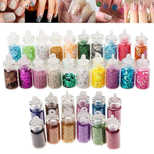 fessionelles Maniküre Nail Art Glitter Glitzer Puder Und Kaviar Perlen Dekorationen Set Kit Von VAGA® (Nagel Glitter Und Juwelen)