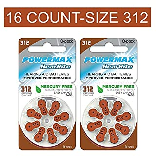 Powermax HearRite Zinc Air Mercury-Free Hearing Aid Batteries, Size 312