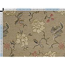 Tela de tapicería, tela de tapicería, tela de tapicería, tela, tela de la cortina, tela - marfil claro de popurrí II, Ayton, - chenille fino terciopelo con un patrón floral de la Web