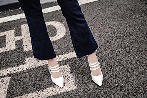 LvYuan-mxx Talon Femme / Printemps Automne Hiver / Décontracté Ankle Strap Cuir / Chunky Talon Pointu orteil / Boucle / Bureau & Carrière Robe / sandales WHITE-39
