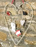 Large Cream Wire Heart Shaped Card Photo Holder 51 x 56cm