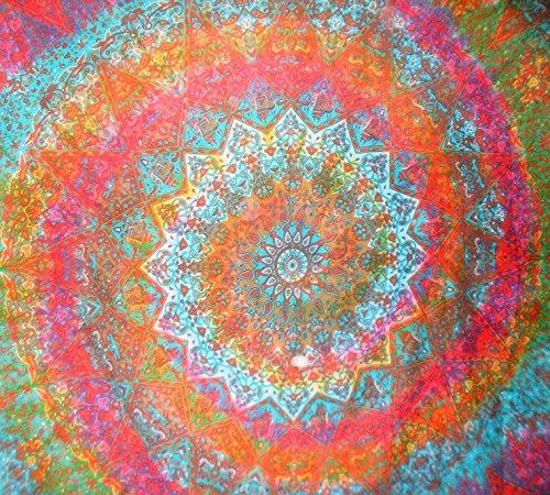 Traditional Jaipur Stern groß Mandala Wandteppich, Tie Dye indischen Wandbehang, Bohemian Elefant Bettwäsche Queen Hippie, Schlafsaal, Raum Dekorationen Boho Picknick Werfen, Gyspy Strand Decke (Hippie Decke Werfen)