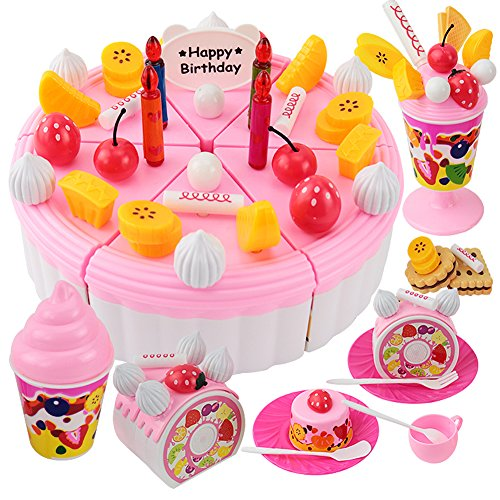Onshine DIY Cutting Birthday Cake Dessert Pretend Play Food Toys with Candles for Kids Girls Pink 73Pcs