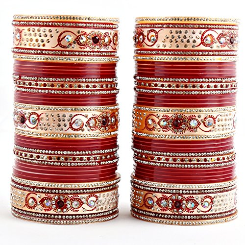 Lucky Jewellery Maroon Bridal Punjabi Choora, Wedding Chudas Set Size Of 2.10 For Women