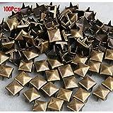 100x 8mm Metall DIY Pyramiden Nieten Ziernieten Gothic Bronze