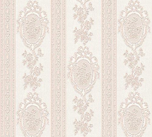 A.S. Création Strukturprofiltapete Belle Epoque Tapete mit Ornamenten barock 10,05 m x 0,53 m metallic rosa weiß Made in Germany 186164 1861-64