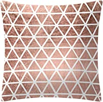 QingJiu Rose Gold Pink Cushion Cover Square Pillowcase Home Decoratio (E, 45X45cn)