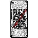 Grunge Cult Fun Tête de mort Art Hipster Musique téléphone Housse/Coque rigide pour Apple téléphone portable, plastique, Hate The World Never Come Back, Apple iPhone 5c