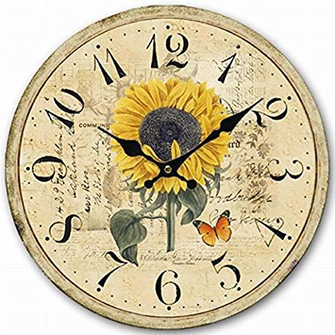 Sunflower Wood Clock,14-Inch Eruner Butterfly Romantic Style Wall Clock Silent Quartz Movement for Home Bedroom Livingroom Decor