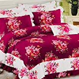 Refinish Home Vintage Blossom Collection Maroon,White Colour Glace Cotton Floral 108x108 In. (274x274cm)(9ft By 9ft) Super King Size Delightful Double Bed Sheet With 2 Pillow Covers Under 2000