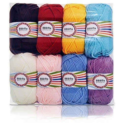 Lot de 8 pelotes de laine peignée 100% laine acrylique 50 g
