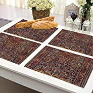 BRICK HOME Flower Ethnic Dining Table Mat - 12 x 18 inches - Set of 4