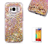 For Samsung Galaxy S8 Case [with Free Screen Protector],Funyye 3D Creative Floating Water Liquid Small Love Hearts Design Luxury Sparkly Bling Glitter Protective Case for Samsung Galaxy S8- Gold