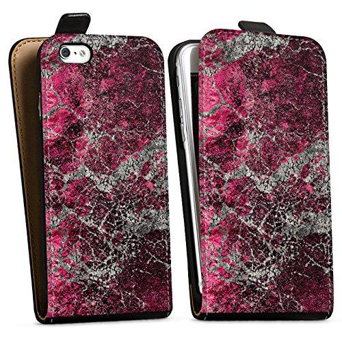 Apple iPhone X Silikon Hülle Case Schutzhülle Stein Struktur Muster Look Downflip Tasche schwarz