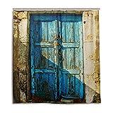 mydaily Alte Tür von griechischen Inseln Vintage Vorhang für die Dusche 167,6x 182,9cm, schimmelresistent & Wasserdicht Polyester Dekoration Badezimmer Vorhang