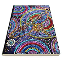 Prosperveil A5 Writing Journal Notebook with DIY Diamond Painting Kits Leather Cover 50 Plain Pages Daily Sketchbook Diary Kids Birthday Gifts (Dragonfly Mandala)