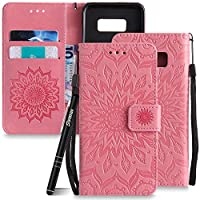 Leather Case for Samsung Galaxy S8,Slynmax Sunflower Design,Magnetic Flip Book Style Cover Case Premium PU Wallet Cover[Card Slots][Strong Magnet][Black Stylus]Smoothly Cash Pocket 360 All Screen Protector Smart Shell Stand Cover Perfect Fit for Samsung Galaxy S8 - Brown