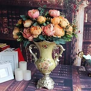 Soledì- 12 Testine di Peonia Fiori Artificiali Pittura a Olio, Fioritura in Seta, Bouquet Decorazione per Sposina Cerimonia Matrimonio Party Casa (Champagne)