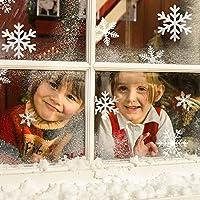 Schneeflocken Fensterbild, Migimi Fensterdeko Weihnachten Wand PVC Aufkleber Winter Dekoration für Türen ,Schaufenster, Vitrinen, Glasfronten, Party Deko und mehr