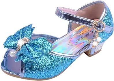 PowerFul-LOT Fille Sandale Bouche de Poisson Princesse//Filles Ballerines Chaussures a Talon Reine de Neige Belle avec Pailliettes N/œud /à Deux Boucles//Fille Infant Haute Qualit/é Chaussures Sandales
