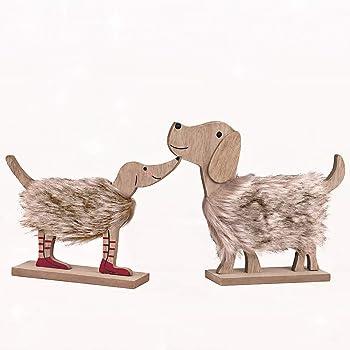 Weihnachtsdeko Hund.Valery Madelyn 2er Set 15 18cm Holz Hund Weihnachtsdeko Figur Weihnachtsdekoration Mit Flauschigen Webpelz Und Rote Schuhe