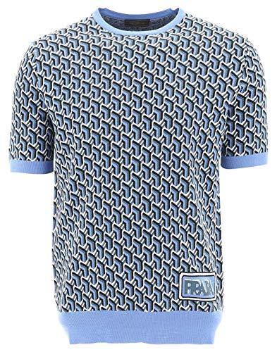 Prada Herren Uma1231s9qf0237 Blau Wolle T-Shirt
